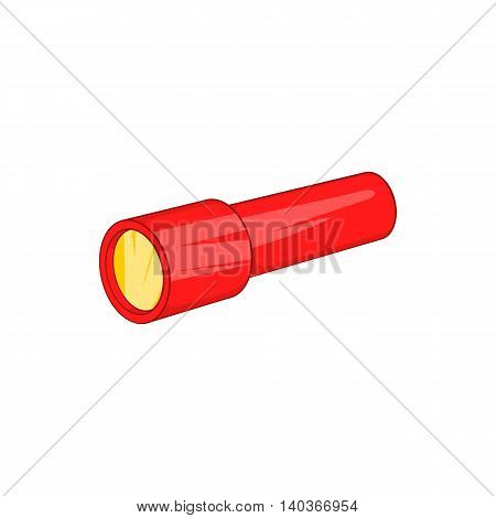 Red flashlight icon in cartoon style on a white background