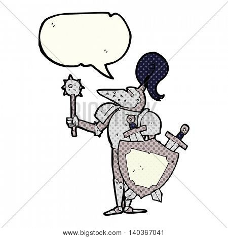 freehand drawn comic book speech bubble cartoon medieval knight with shield