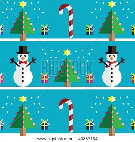 Christmas Seamless pattern with geometrical Snowman with scarf and with bow tie , gifts with ribbon, snow, sweets,  xmas trees with  pink lights and star element in 2 shades on light blue background