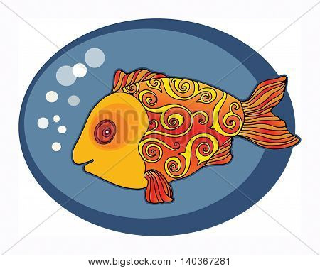 Cute Gold Fish hand drawn, vector illustration