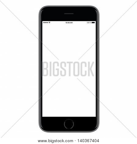 Directly front view of a modern black mobile smart phone mockup with blank screen isolated on white background. High-quality studio shot.