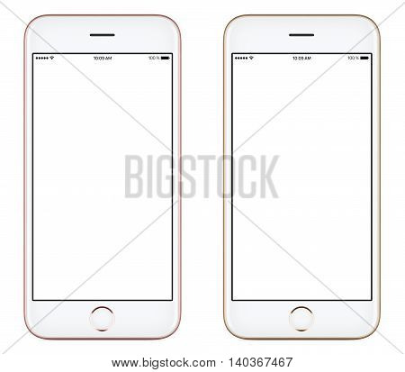 Directly front view of a modern pink and gold mobile smart phone mockup with blank screen isolated on white background. High-quality studio shot.
