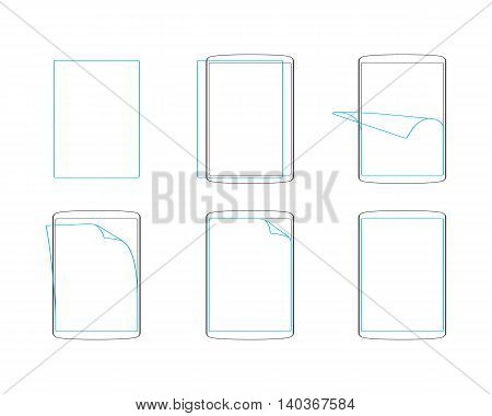 Set apply screen protector flat icons outline vector illustration EPS