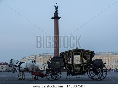 ST. PETERSBURG, RUSSIA - July 27, 2016: horseback riding on the Palace square in St. Petersburg
