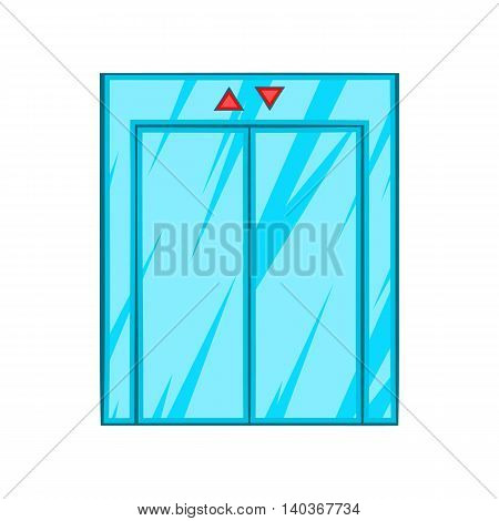 Elevator with closed door icon in cartoon style on a white background