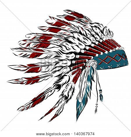 Native American indian headdress with feathers in a sketch style. multicolored card for Thanksgiving day. Vector illustration. EPS