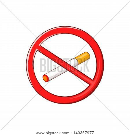 No smoking sign icon in cartoon style on a white background