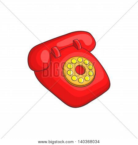 Retro red telephone icon in cartoon style on a white background
