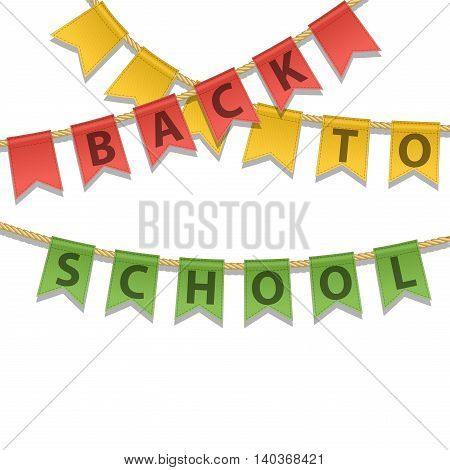 Colorful Bunting decoration with Back To School text isolated on a white background. Education concept. Flyer poster brochure template for party celebration. Vector illustration