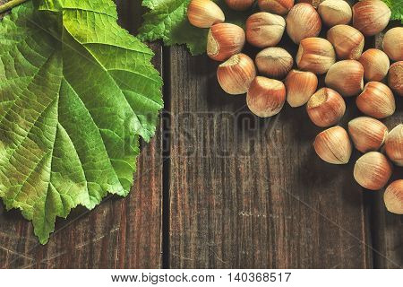Hazelnuts and leaves on wooden background. Top view with copy space
