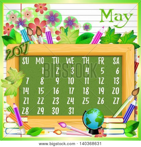 Calendar design grid with green chalkboard and school supplies on page of copybook in line. Back to school background with dates of spring month May 2017. Vector illustration