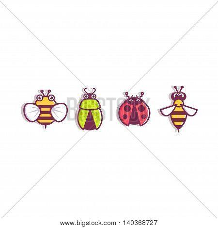 Vector Icons character design bee wasp ladybug beetle