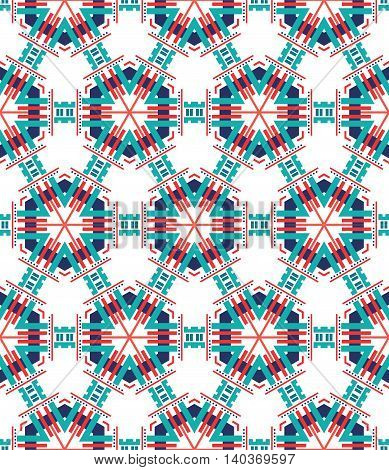 beautiful mosaic flat abstract multicolored geometric ornament for Wallpaper textiles ceramics. Seamless ceramic pattern on light background.