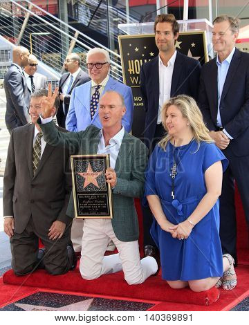 LOS ANGELES - JUL 28:  Michael Keaton, speakers, chamber officials at the Michael Keaton Hollywood Walk of Fame Star Ceremony at the Hollywood Walk of Fame on July 28, 2016 in Los Angeles, CA