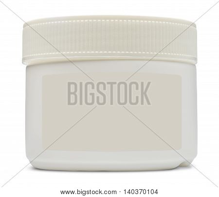 Closed white plastic container with blank label for cosmetics. Isolated on the white background with shadow.