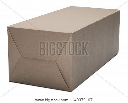 Closed cardboard box. Isolated on the white background with shadow.