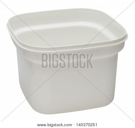 White plastic container without lid for products. Isolated on the white background no shadow.