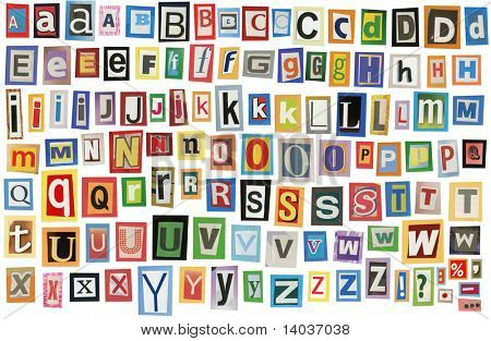 Bunte Alphabet hergestellt aus Magazin-Clippings und Briefe. Isolated on White.
