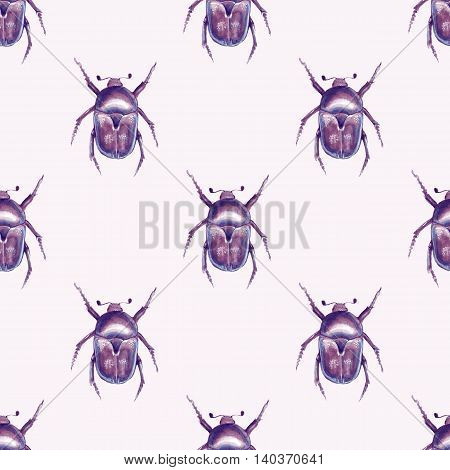 Background with beetles. Watercolor seamless pattern 5