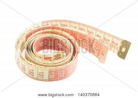 The measuring tape isolated on white background