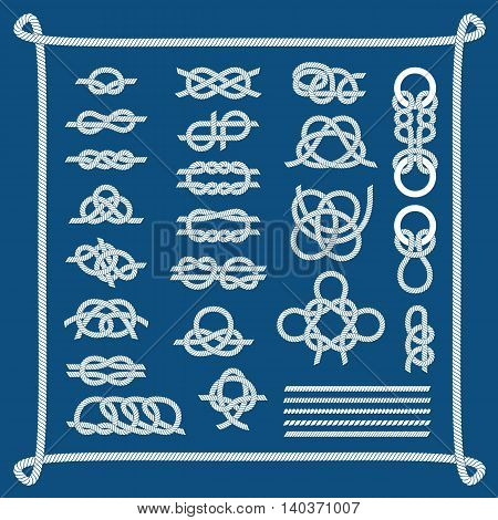 Navy blue rope with marine knots white pattern vector. Sea boat knots shipping natural tackle sign vessel rope. Yacht white navy cable sea boat knots lashing bend net string design.
