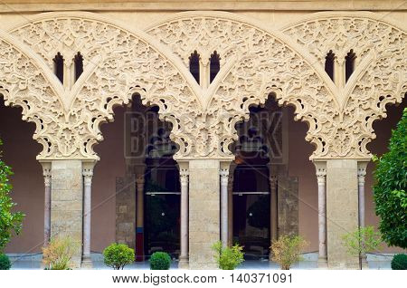 Taifal palace arches, Aljaferia Palace, Zaragoza, Aragon, Spain