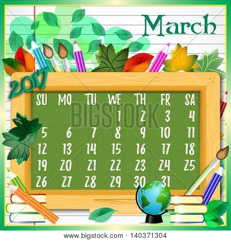 Calendar design grid with green chalkboard and school supplies on page of copybook in line. Back to school background with dates of spring month March 2017. Vector illustration
