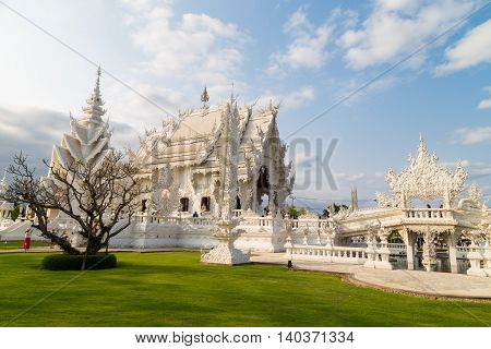 Thailand White Temple One Of The Famous Of Chiang Rai Province