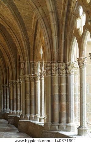 Cistercian  monastery cloister Veruela, Zaragoza, Aragon, Spain
