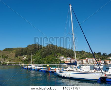 view of the marina in Ribadesella, Asturias, Spain