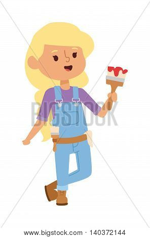 Builders kid girl designer builder with tools. Vector character builder kid, cute child construction. Little person work equipment. Fun young profession.