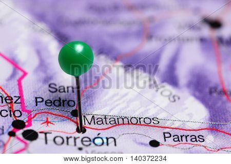 Matamoros pinned on a map of Mexico