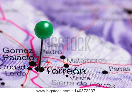 Torreon pinned on a map of Mexico