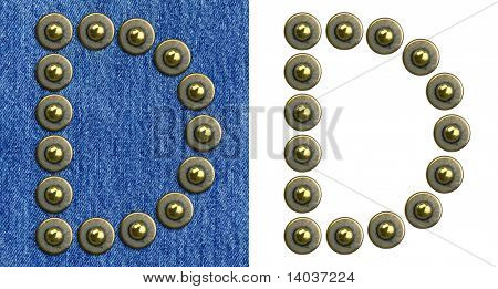 Jeans rivet alphabet letter D. On jeans background and isolated.