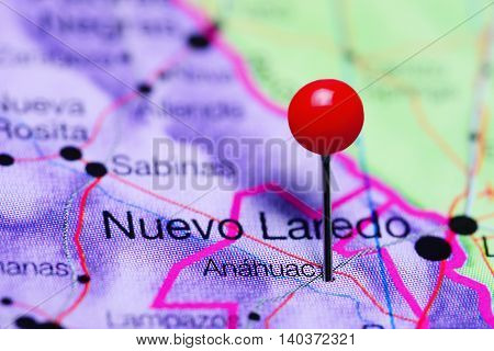 Anahuac pinned on a map of Mexico