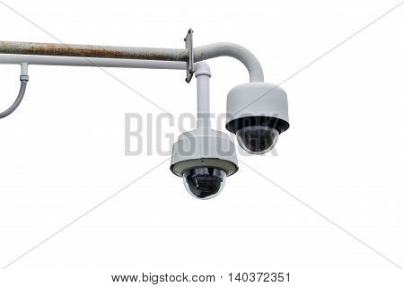 CCTV security camera isolated on white background.