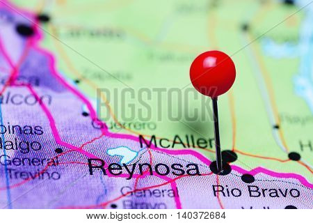 Reynosa pinned on a map of Mexico