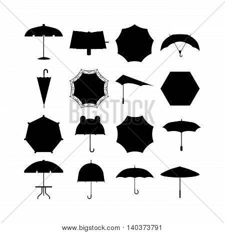 Set of cute black umbrellas in flat design style. Autumn accessory concept fashion umbrella. Colorful flat collection comfort umbrella outdoor element, climate protective sign.