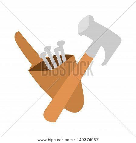 Work tool hammer and industry hammer. Build carpentry hammer handle craft instrument renovation tool. Hammer work tool construction equipment repair hardware industry flat vector illustration.