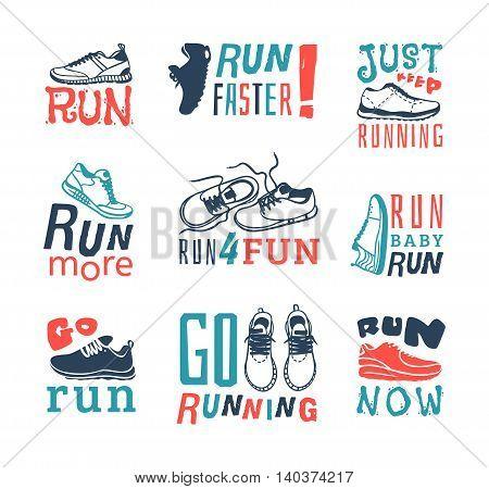 Sport fitness typographic poster run sport motivation. Run sport motivation. Motivational and inspirational illustration lettering logo design, banner, poster, bodybuilding or fitness club.