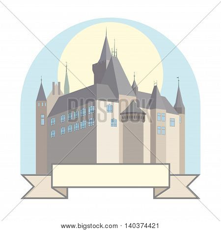 A small German castle on the colored background.
