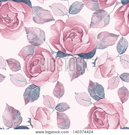 Background with floral branch. Watercolor seamless pattern 12