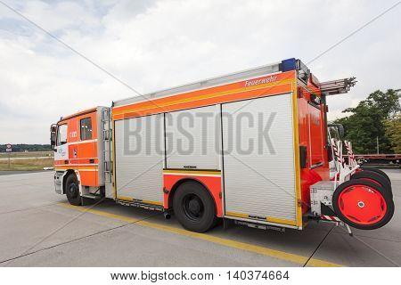 FRANKFURT GERMANY - JULY 24 2016: Modern fire truck at the airport Fire Department in Frankfurt Main International Airport