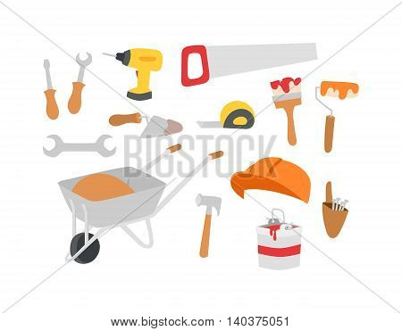 Construction tool collection - vector set. Metal improvement industrial construction instruments tools collection. Construction instruments industry saw pliers tools workshop brush symbol.