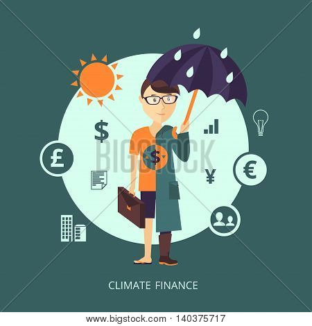 Vector illustration. The character representing the concept of Climate finance