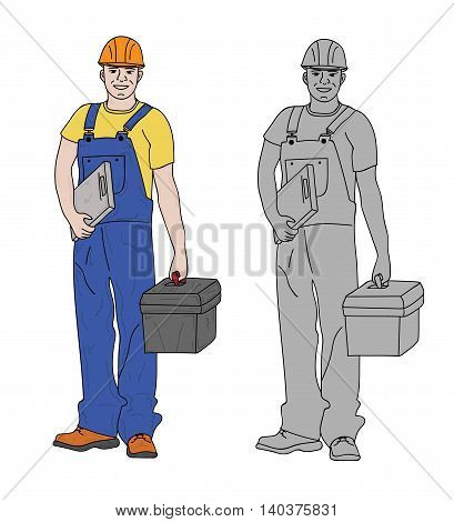 working people builder in overalls and tools. Isolation on a white background. vector illustration