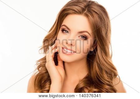 Attractive Smiling Woman Touching Face After Spa Procedures