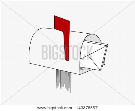 A post box with a red flag and letters. Isolated illustration. Vector illustration