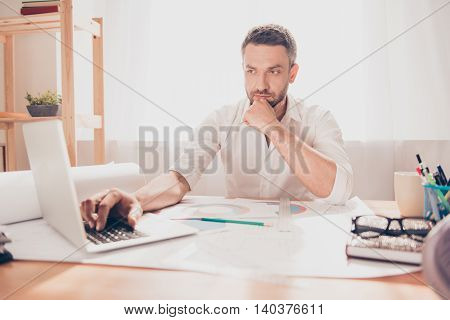 Tired Architect Trying To Find New Idea For His Project