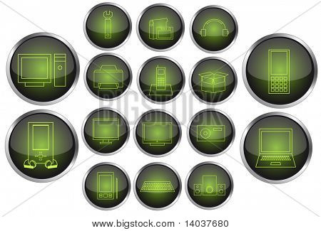 vector set of neon electronics icons